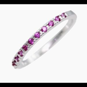 Jewelry - 925 sterling silver lab ruby stackable ring